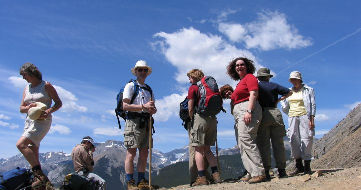 Hikers on a mountain top
